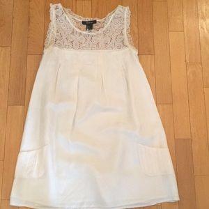 White silk baby doll dress